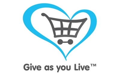 Give as you live logo, blue heart with a shopping trolley inside