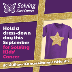 Dress down day graphic with purple/gold t-shirt