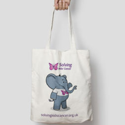 Image of cotton tote bag with elephant design
