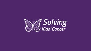 purple background with Solving Kids Cancer logo
