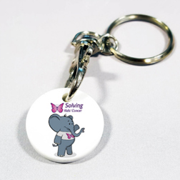 Image of a trolley coin keyring with elephant print design