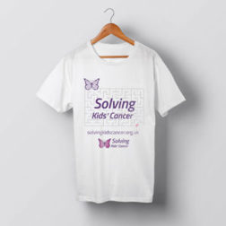 Image of Solving Kids Cancer white t-shirt