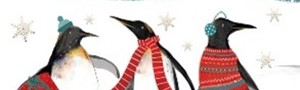 Christmas Cards x10: Festive Penguins