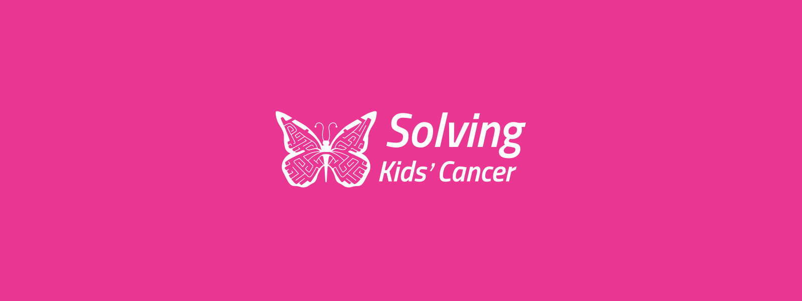 Pink background with Solving Kids Cancer logo
